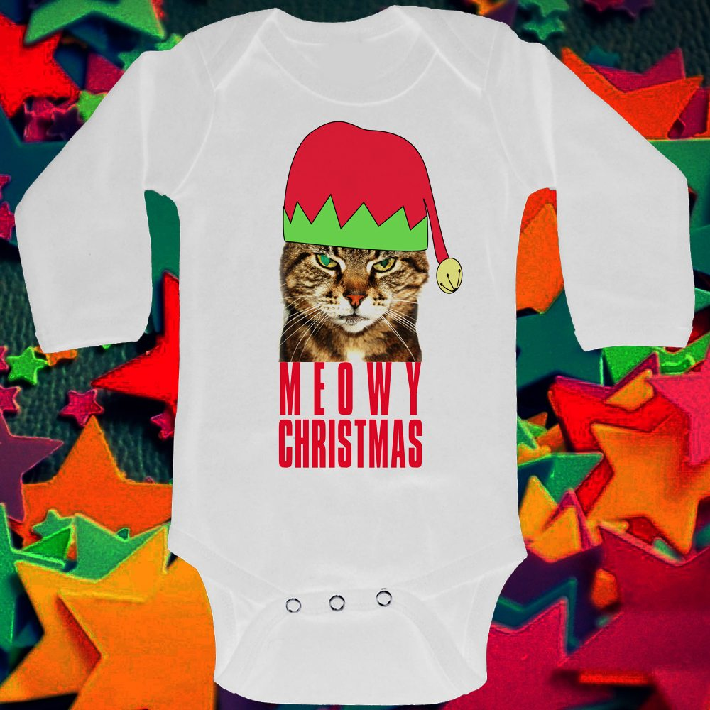 long sleeved baby grow meowy christms
