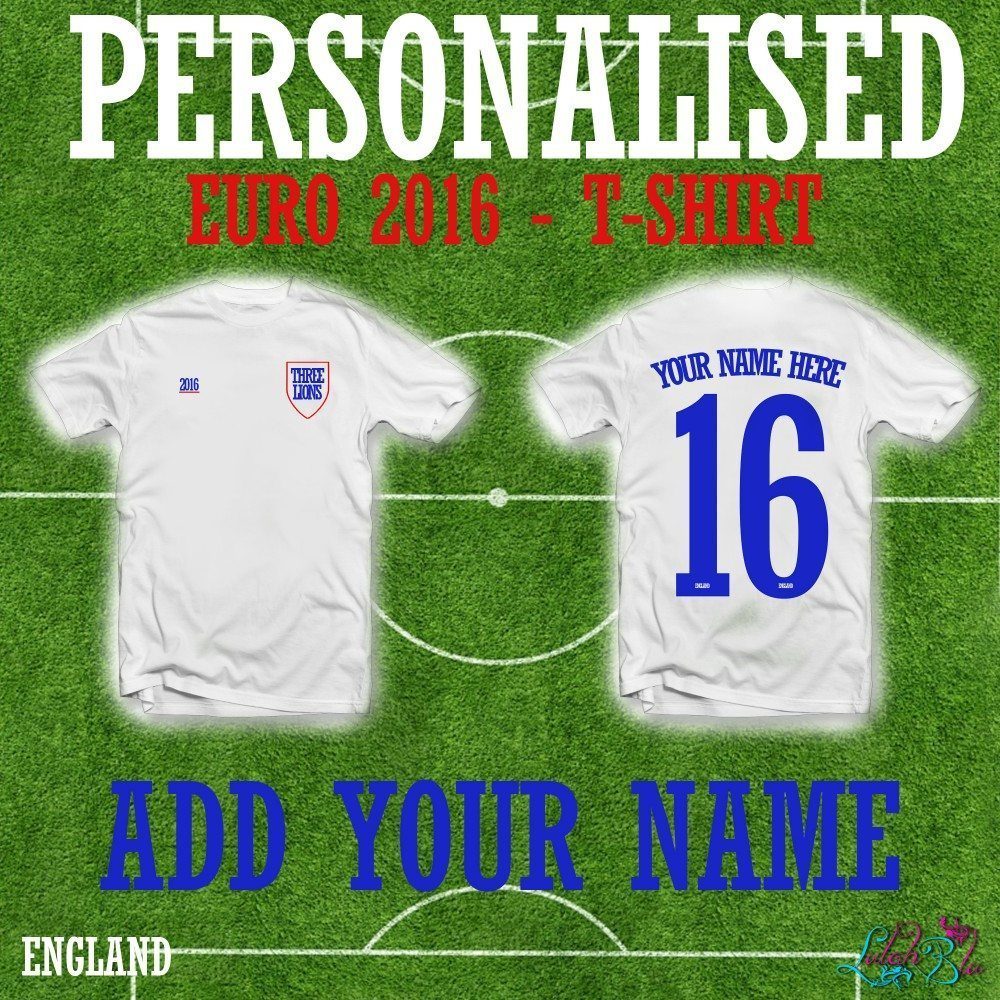 EURO 2016 PERSONALISED ENGLAND T SHIRT