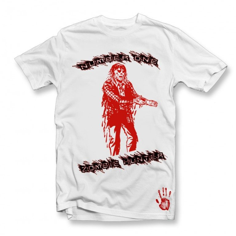 number one zombie hunter t shirt