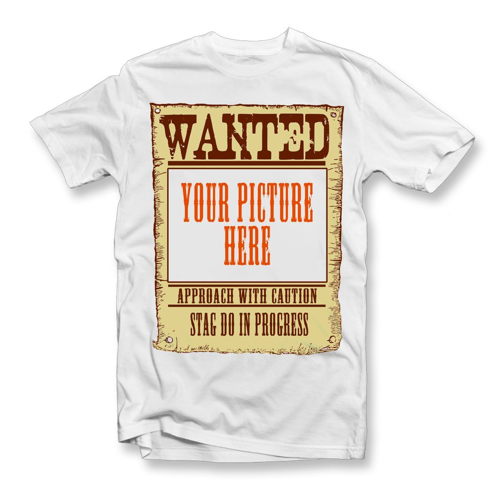 wanted stag do personalised t shirt
