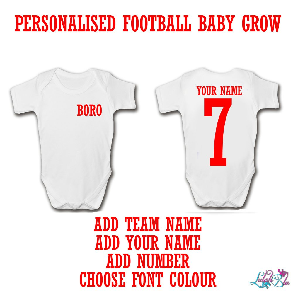 PERSONALISED FOOTBALL BABY GROW