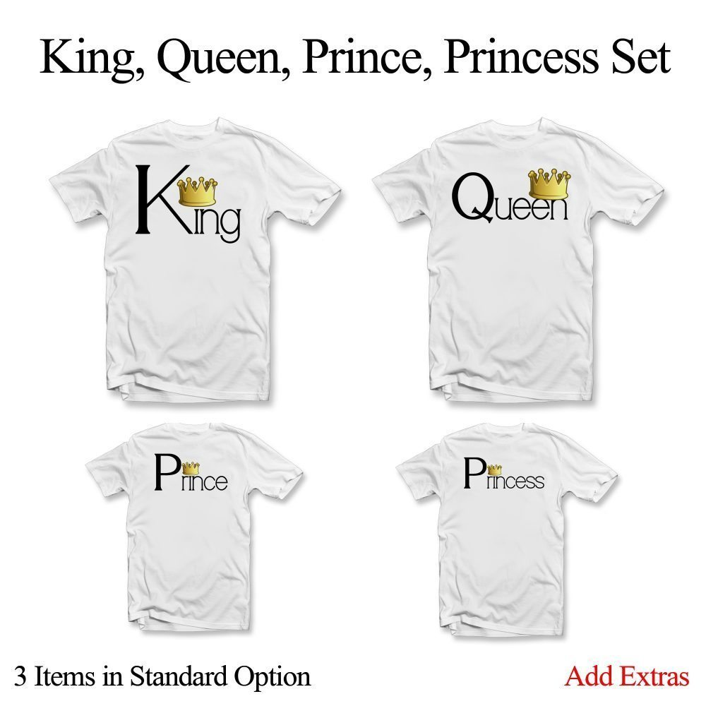 king queen prince princess t shirt set