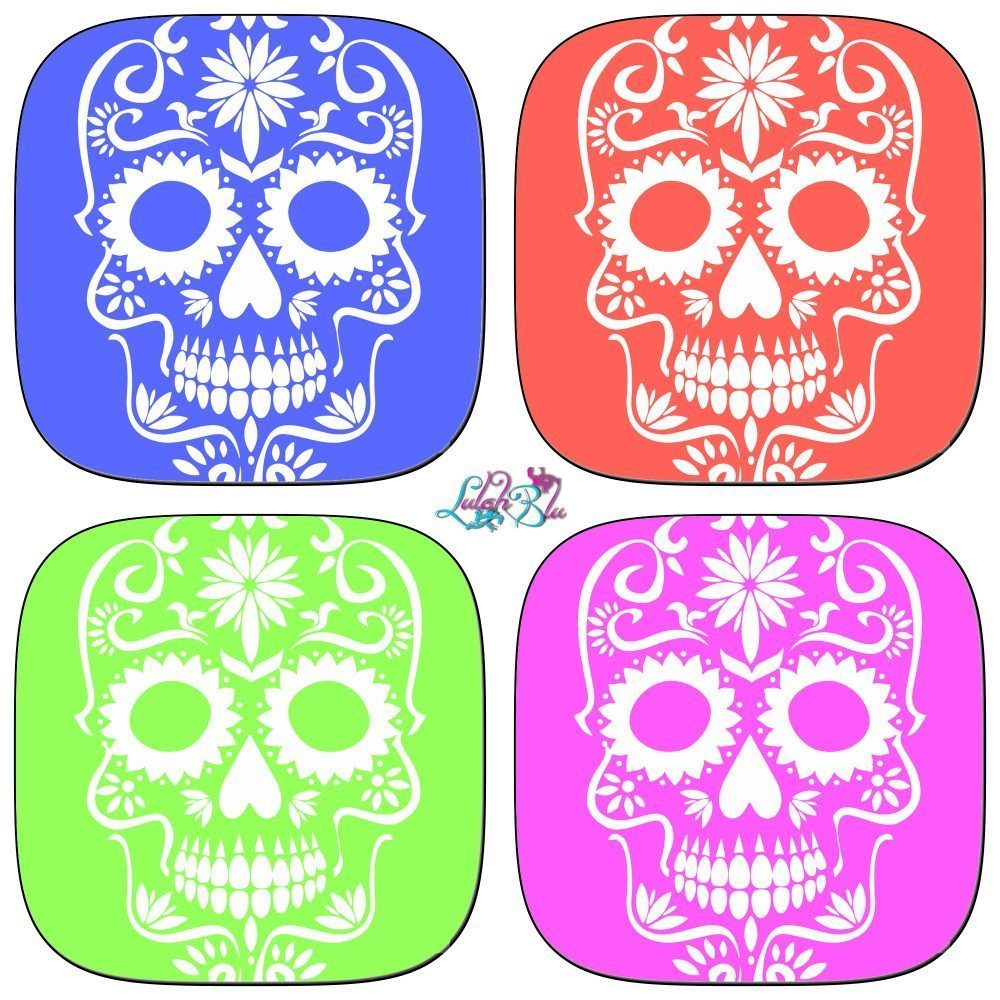 set of 4 sugar skull coasters