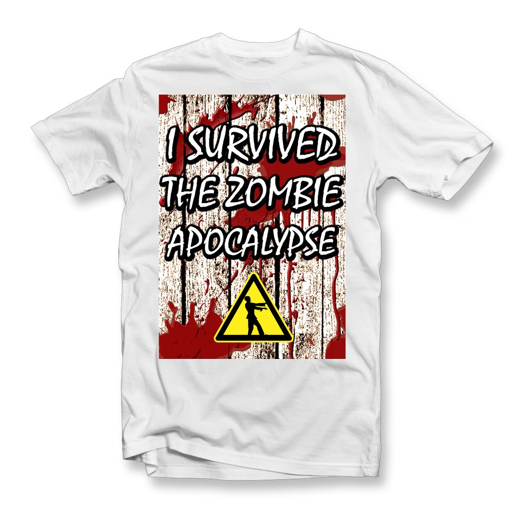 i survived zombie apocalypse white t shirt