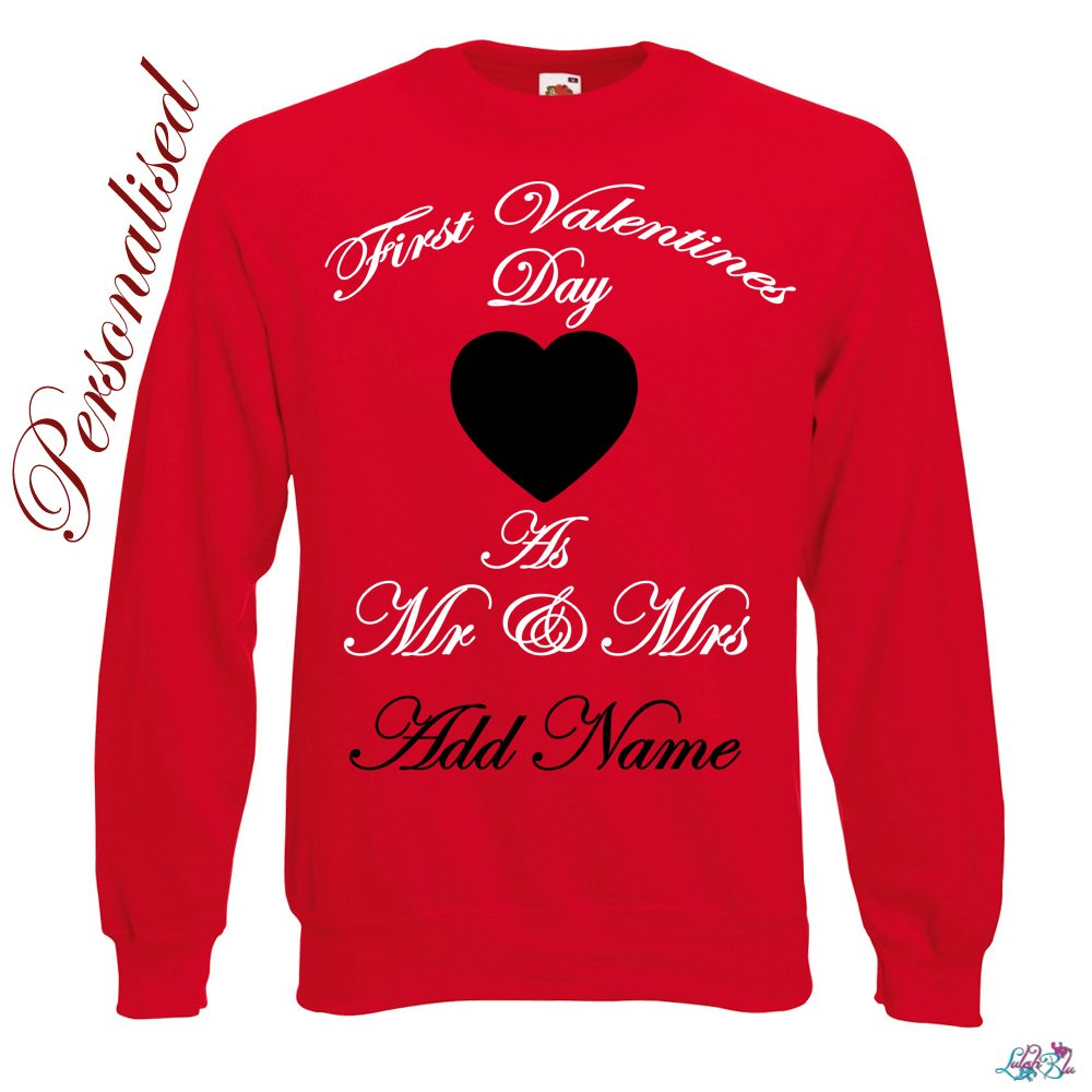 first valentines day as mr and mrs personlaised sweater