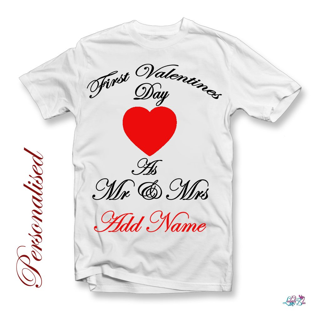 first valentines day as mr and mrs personlaised t shirt