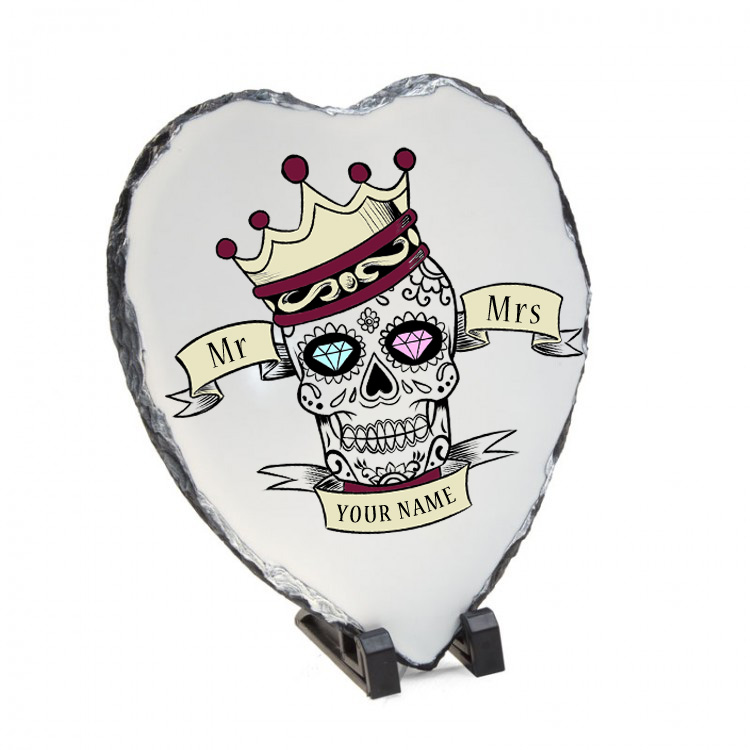 mr and mrs skull heart slate
