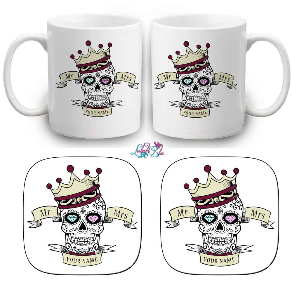 skull and coaster set mr and mrs