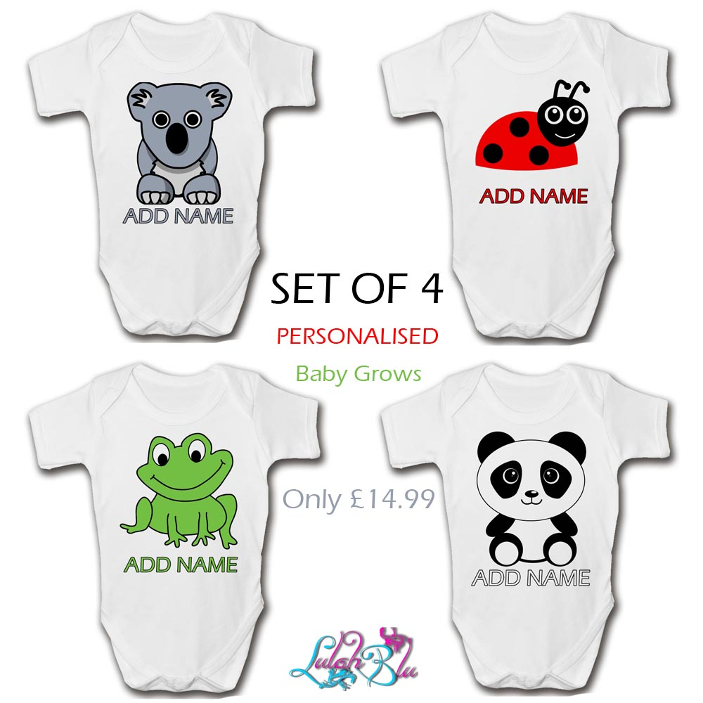 set of 4 personalised animal baby grows