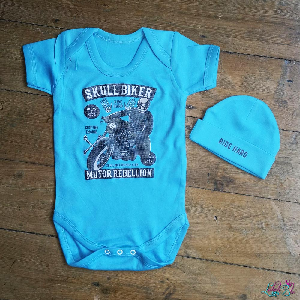 Skull Rider Baby Grow And Beanie Set