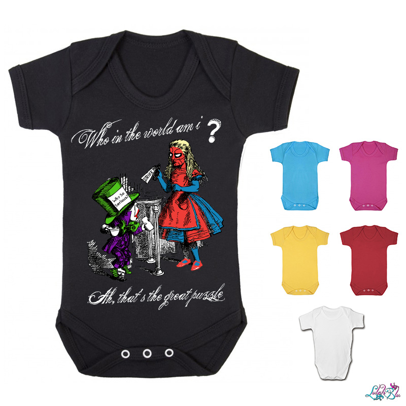 Who In The World Am I Alice In Wonderland Baby Grow